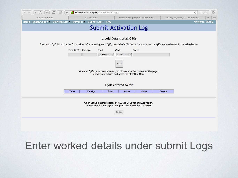 Enter worked details under submit Logs