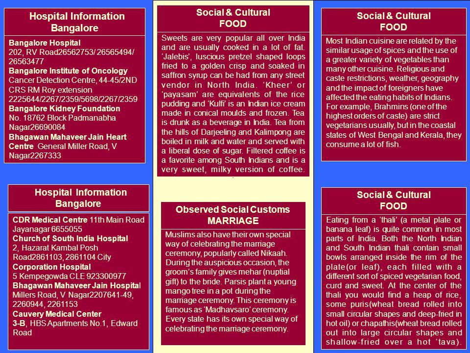 . Hospital Information Bangalore Bangalore Hospital 202, RV Road26562753/ 26565494/ 26563477 Bangalore Institute of Oncology Cancer Detection Centre,