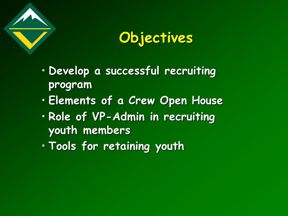 Objectives Develop a successful recruiting programDevelop a successful recruiting program Elements of a Crew Open HouseElements of a Crew Open House R