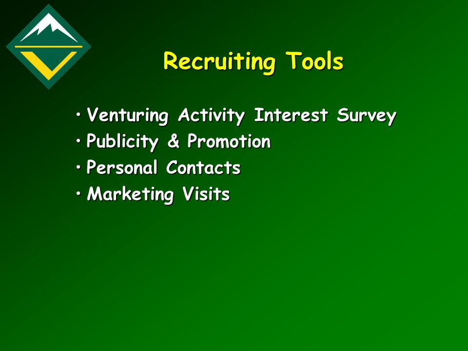 Recruiting Tools Venturing Activity Interest SurveyVenturing Activity Interest Survey Publicity & PromotionPublicity & Promotion Personal ContactsPers