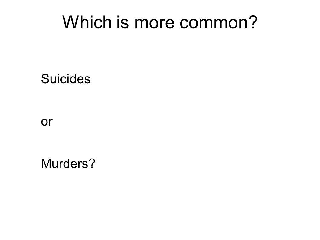 Which is more common Suicides or Murders