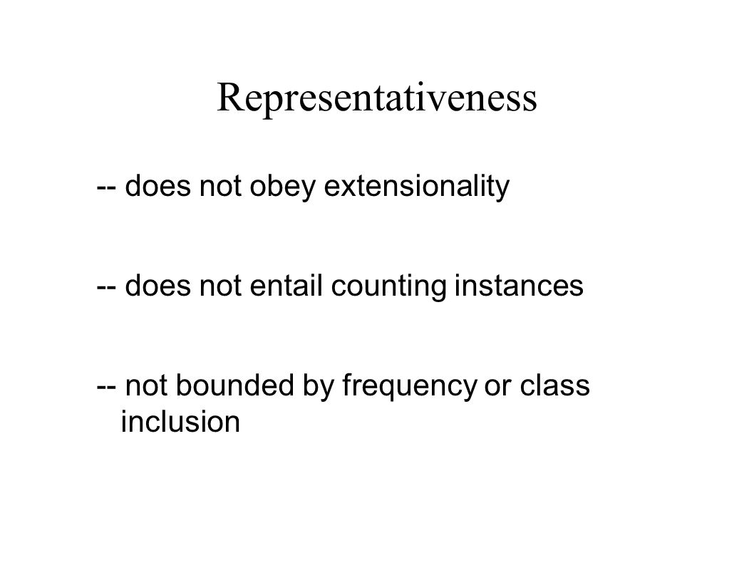Representativeness -- does not obey extensionality -- does not entail counting instances -- not bounded by frequency or class inclusion