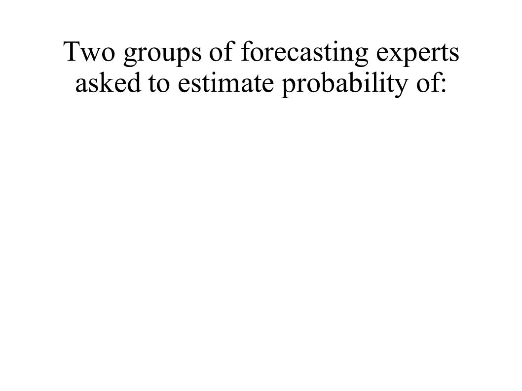 Two groups of forecasting experts asked to estimate probability of: