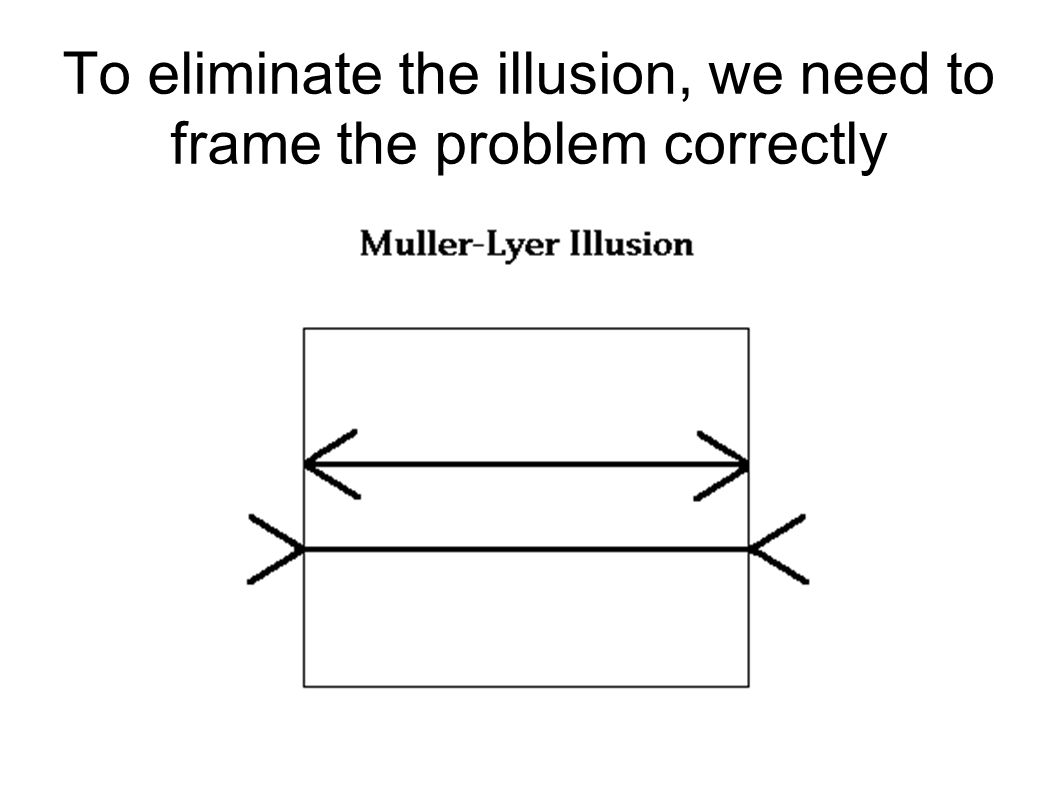 To eliminate the illusion, we need to frame the problem correctly