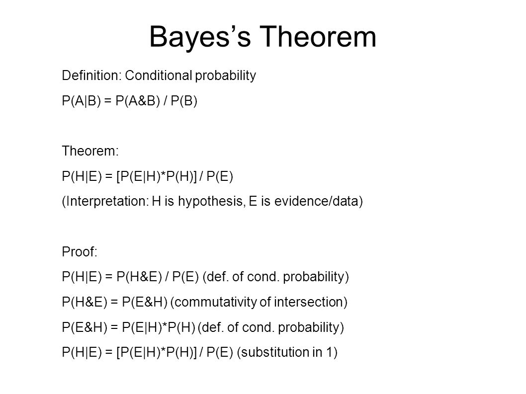 Bayes's Theorem Definition: Conditional probability P(A|B) = P(A&B) / P(B) Theorem: P(H|E) = [P(E|H)*P(H)] / P(E) (Interpretation: H is hypothesis, E is evidence/data) Proof: P(H|E) = P(H&E) / P(E) (def.