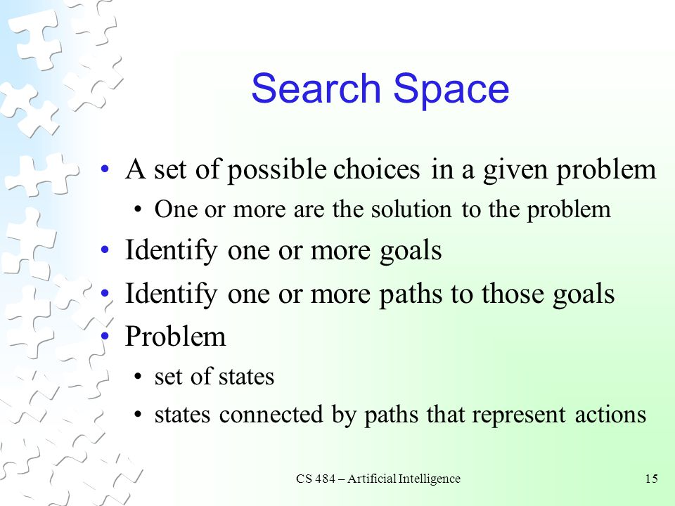 CS 484 – Artificial Intelligence15 Search Space A set of possible choices in a given problem One or more are the solution to the problem Identify one