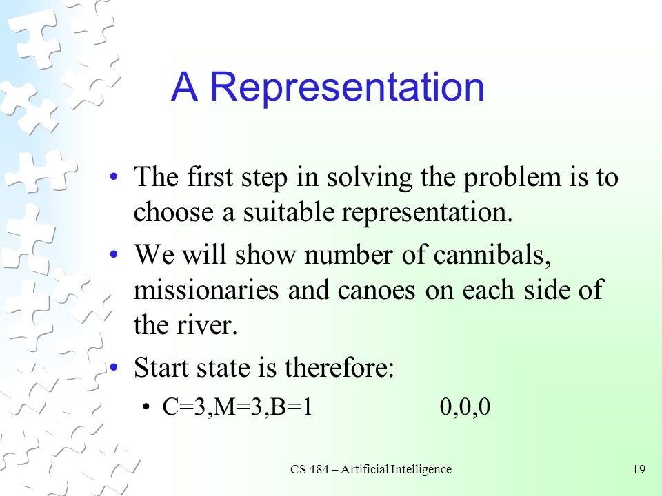 CS 484 – Artificial Intelligence19 A Representation The first step in solving the problem is to choose a suitable representation. We will show number