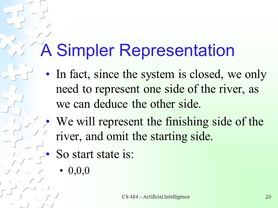 CS 484 – Artificial Intelligence20 A Simpler Representation In fact, since the system is closed, we only need to represent one side of the river, as w