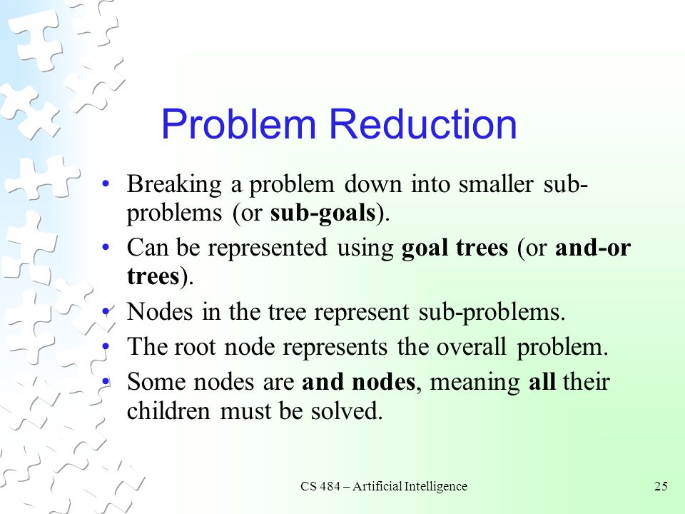 CS 484 – Artificial Intelligence25 Problem Reduction Breaking a problem down into smaller sub- problems (or sub-goals). Can be represented using goal
