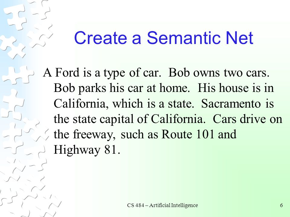 CS 484 – Artificial Intelligence6 Create a Semantic Net A Ford is a type of car. Bob owns two cars. Bob parks his car at home. His house is in Califor