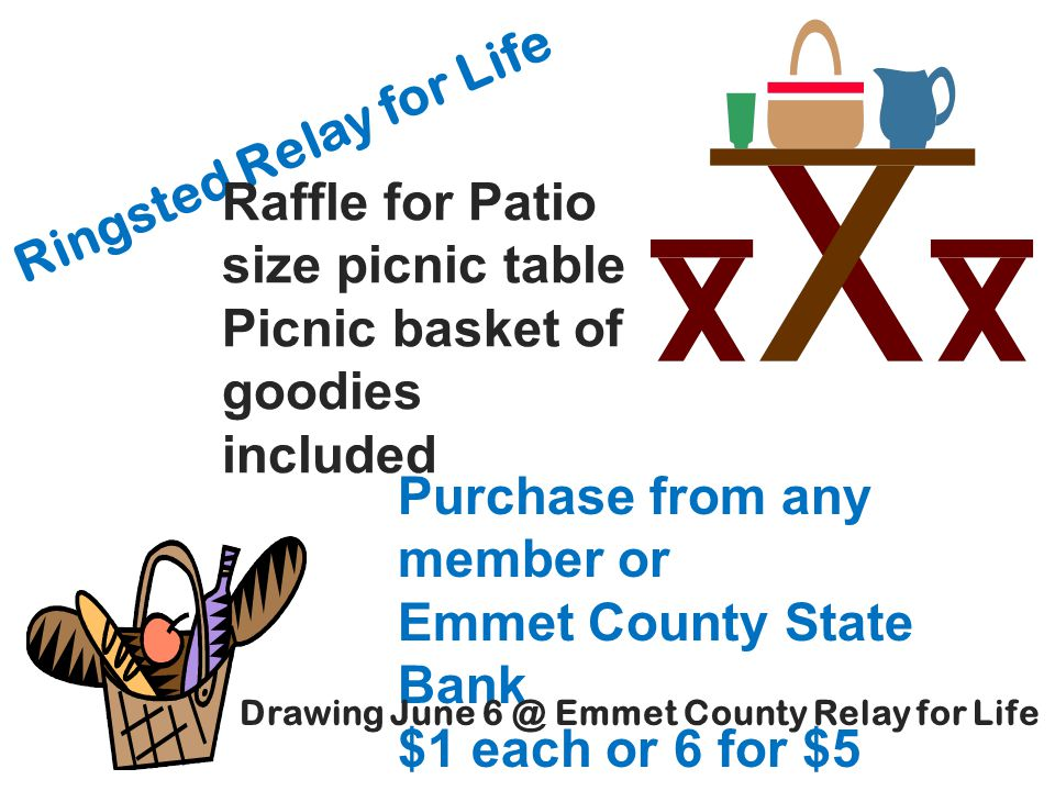 Ringsted Relay for Life Raffle for Patio size picnic table Picnic basket of goodies included Purchase from any member or Emmet County State Bank $1 ea