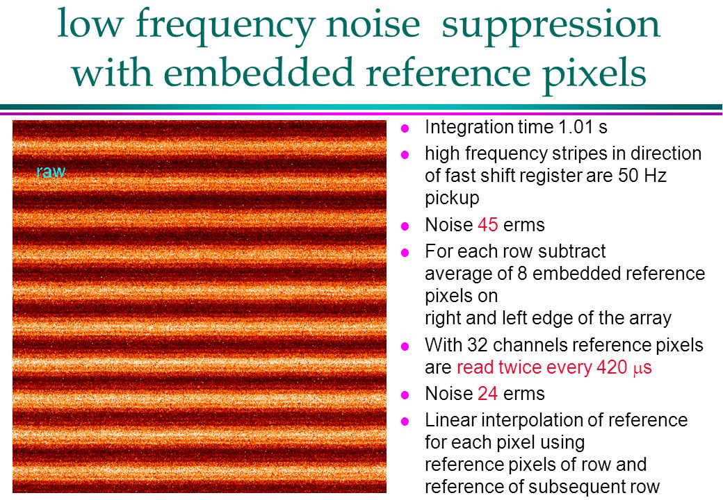 low frequency noise suppression with embedded reference pixels l Integration time 1.01 s l high frequency stripes in direction of fast shift register are 50 Hz pickup l Noise 45 erms l For each row subtract average of 8 embedded reference pixels on right and left edge of the array With 32 channels reference pixels are read twice every 420  s l Noise 24 erms l Linear interpolation of reference for each pixel using reference pixels of row and reference of subsequent row