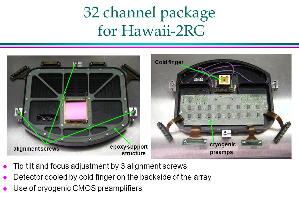 32 channel package for Hawaii-2RG l Tip tilt and focus adjustment by 3 alignment screws l Detector cooled by cold finger on the backside of the array l Use of cryogenic CMOS preamplifiers cryogenic preamps Cold finger alignment screws epoxy support structure