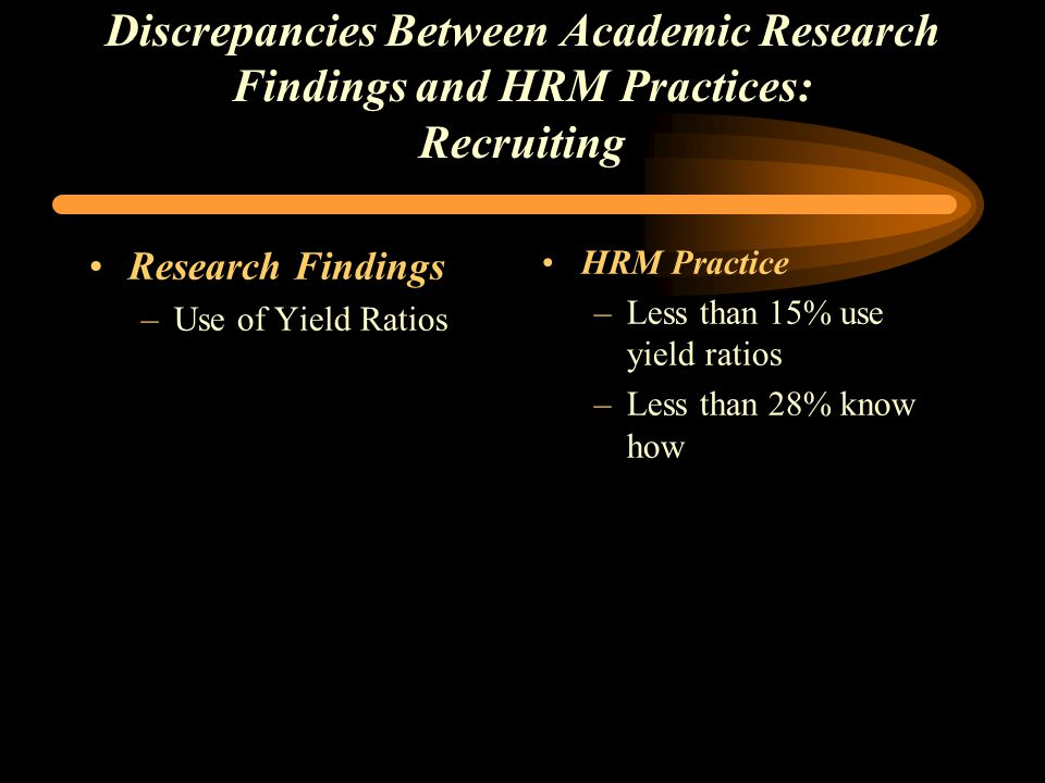 Discrepancies Between Academic Research Findings and HRM Practices: Recruiting Research Findings –Use of Yield Ratios HRM Practice –Less than 15% use yield ratios –Less than 28% know how
