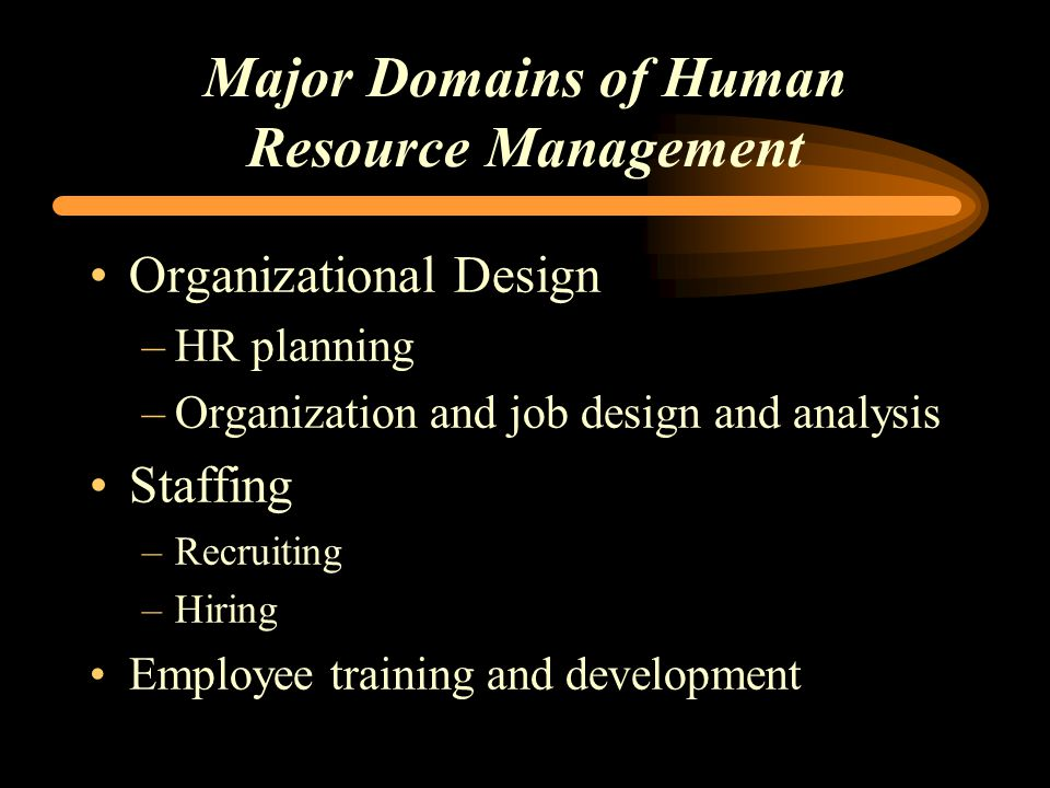 Major Domains of Human Resource Management Organizational Design –HR planning –Organization and job design and analysis Staffing –Recruiting –Hiring Employee training and development