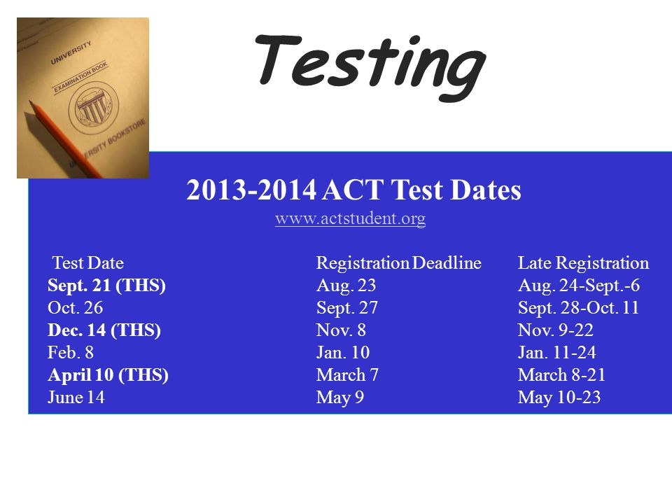 2013-2014 ACT Test Dates www.actstudent.org Test Date Registration Deadline Late Registration Sept.