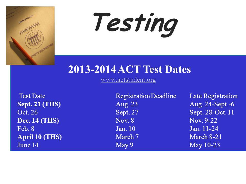 2013-2014 ACT Test Dates www.actstudent.org Test Date Registration Deadline Late Registration Sept. 21 (THS) Aug. 23 Aug. 24-Sept.-6 Oct. 26 Sept. 27