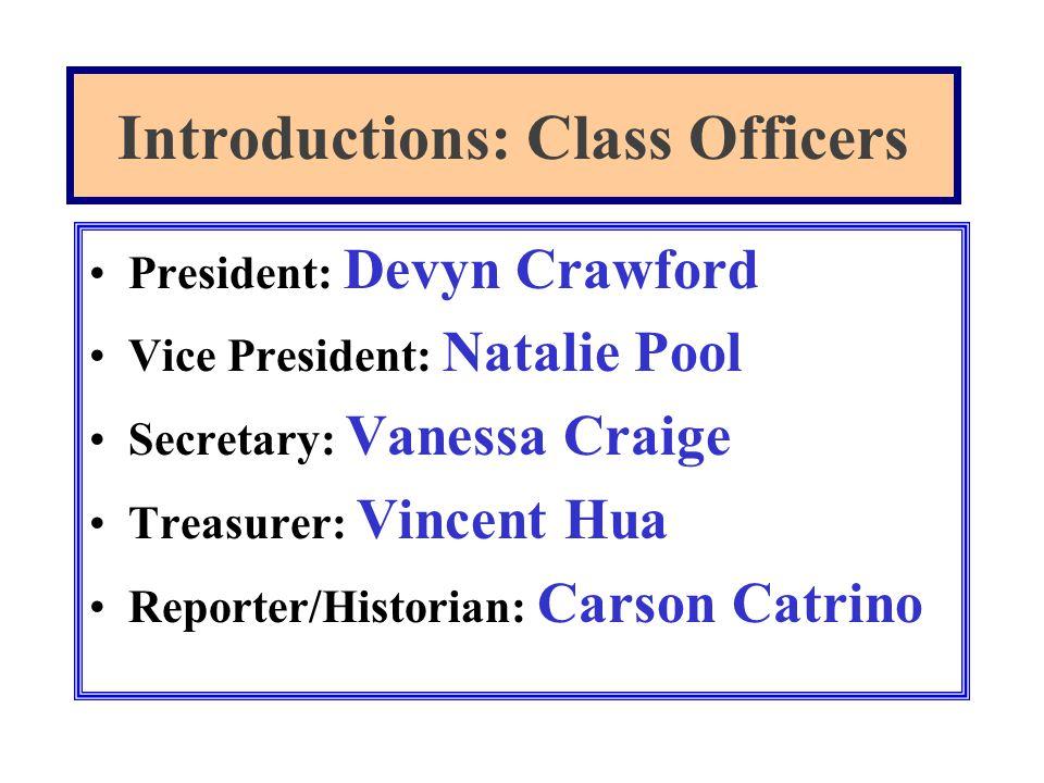 President: Devyn Crawford Vice President: Natalie Pool Secretary: Vanessa Craige Treasurer: Vincent Hua Reporter/Historian: Carson Catrino Introductio