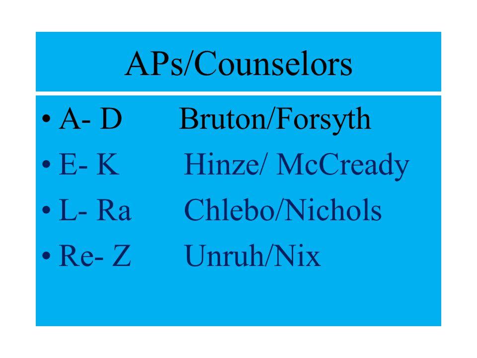 APs/Counselors A- D Bruton/Forsyth E- KHinze/ McCready L- RaChlebo/Nichols Re- ZUnruh/Nix