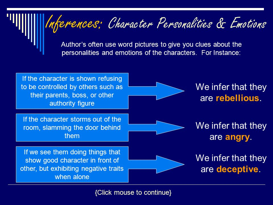 Inferences: Character Personalities & Emotions Author's often use word pictures to give you clues about the personalities and emotions of the characte