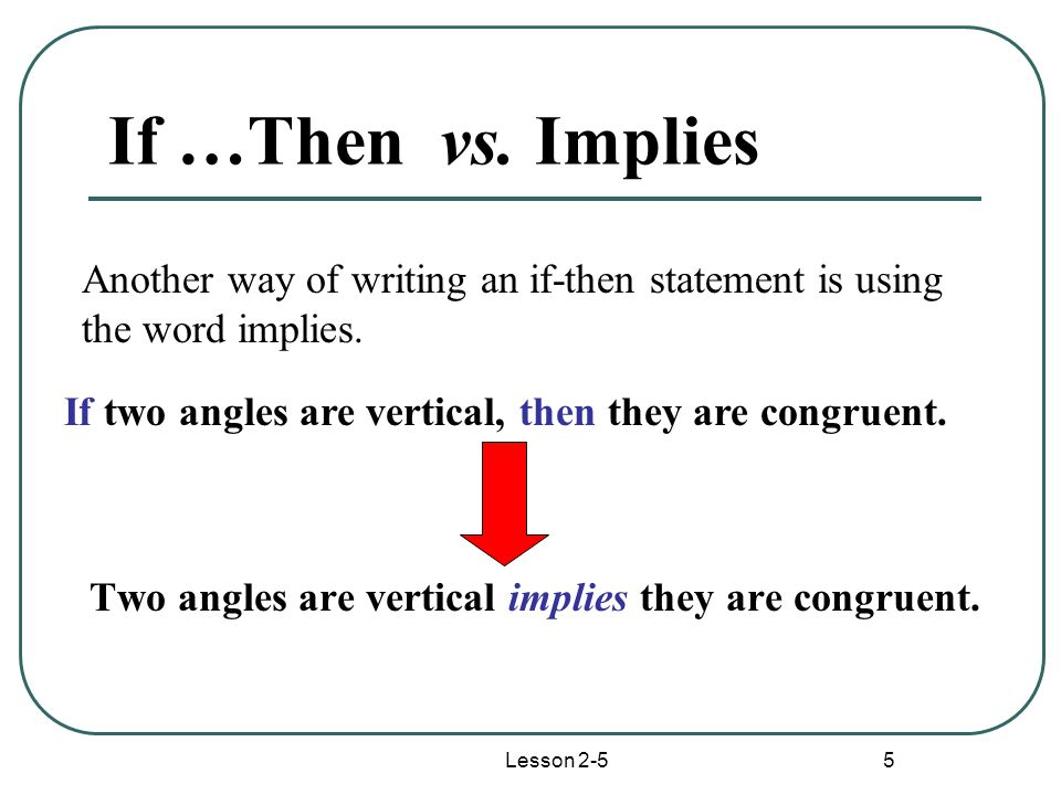 Lesson 2-5 5 If …Then vs.Implies Two angles are vertical implies they are congruent.