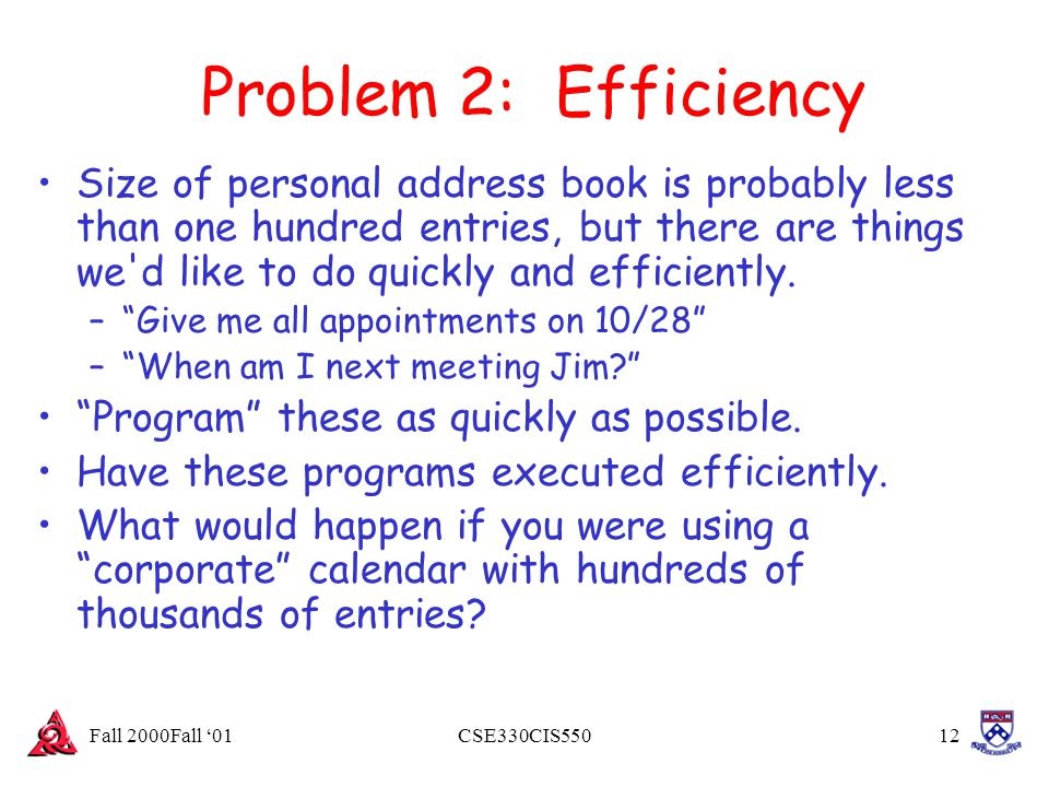 Fall 2000Fall '01CSE330CIS55012 Problem 2: Efficiency Size of personal address book is probably less than one hundred entries, but there are things we
