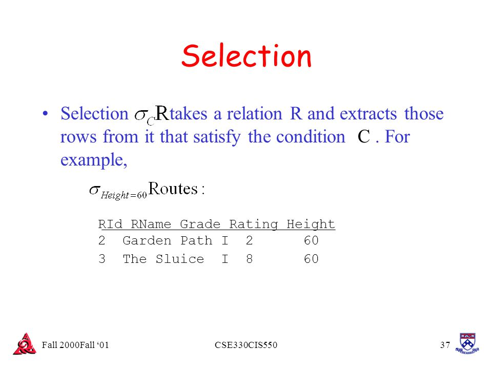 Fall 2000Fall '01CSE330CIS55037 Selection Selection takes a relation R and extracts those rows from it that satisfy the condition C. For example, RId