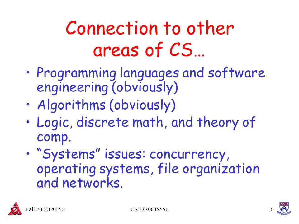 Fall 2000Fall '01CSE330CIS5507 But 80% of the world's data is not in a DB.