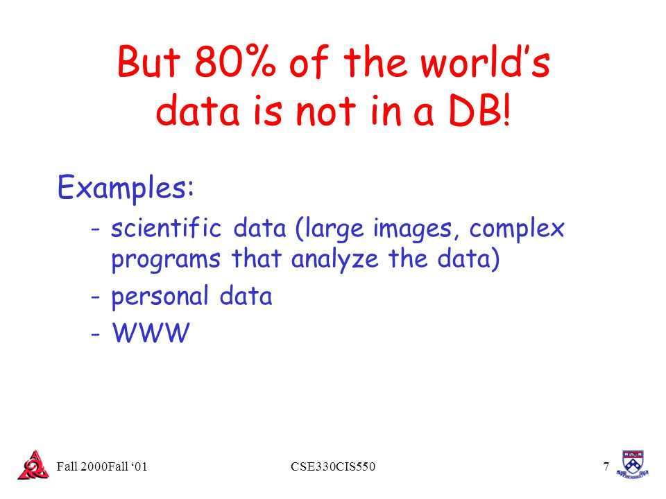 Fall 2000Fall '01CSE330CIS5508 Why don t we ``program up databases when we need them.