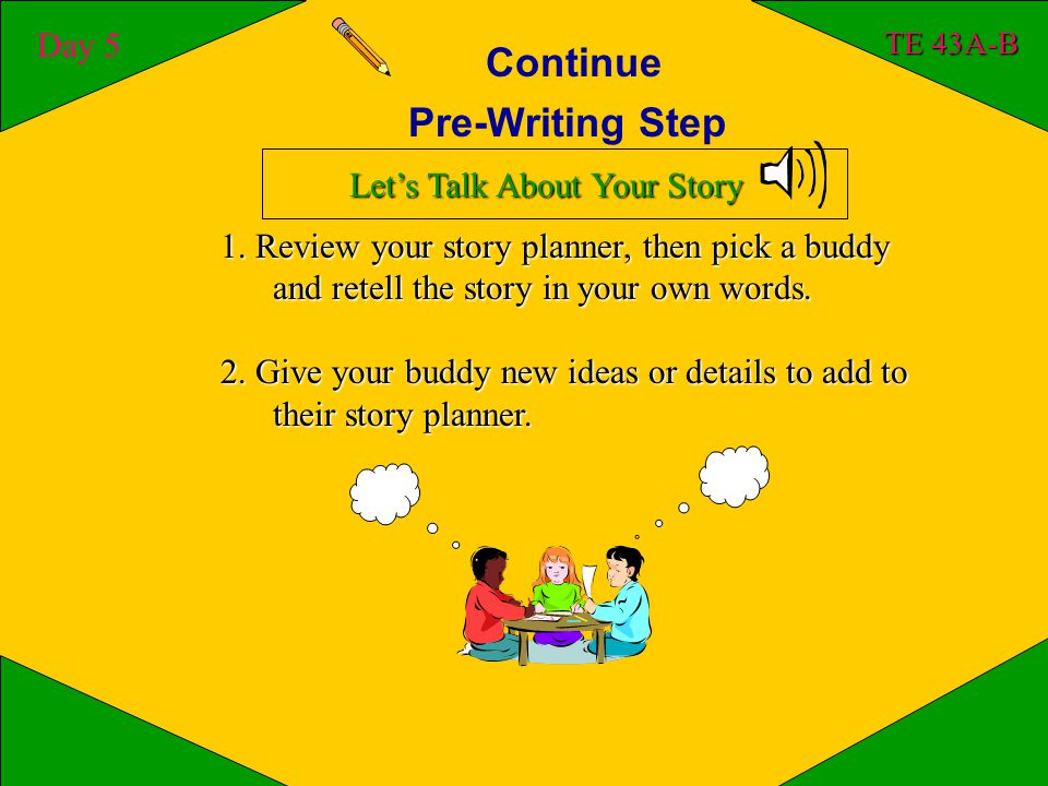 Pre-Writing Step Day 4 TE 43A-B Good writers need to plan and think before they write.