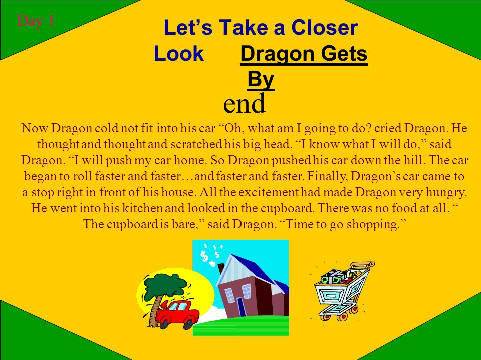 Let's Take a Closer Look Dragon Gets By Day 1 middle He had so much food that he could not fit in all into his car.