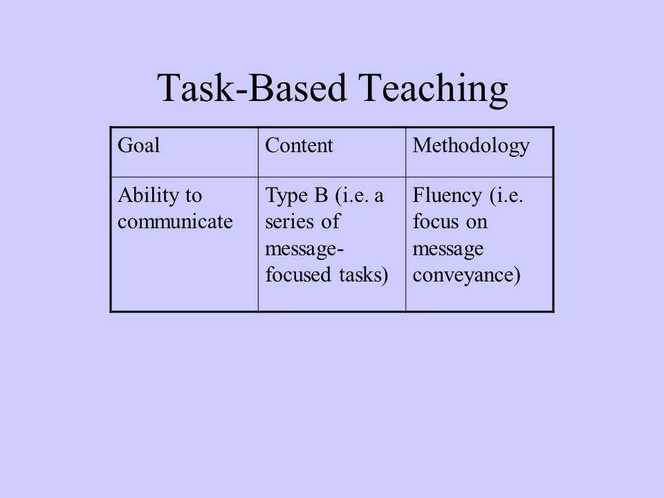 Task-Based Teaching GoalContentMethodology Ability to communicate Type B (i.e. a series of message- focused tasks) Fluency (i.e. focus on message conv