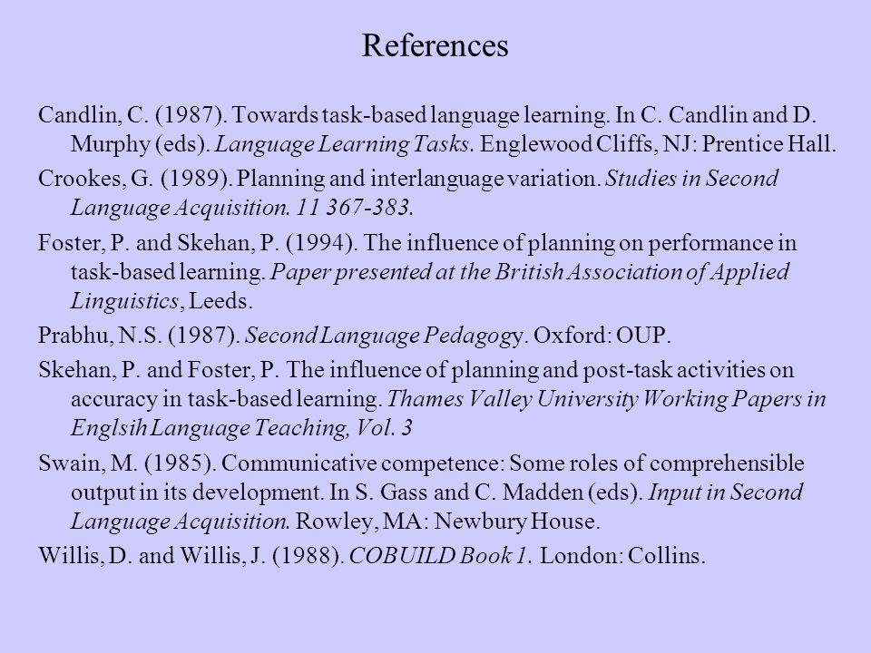 References Candlin, C. (1987). Towards task-based language learning. In C. Candlin and D. Murphy (eds). Language Learning Tasks. Englewood Cliffs, NJ:
