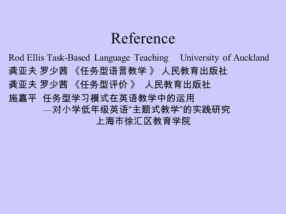 Reference Rod Ellis Task-Based Language TeachingUniversity of Auckland 龚亚夫 罗少茜 《任务型语言教学 》 人民教育出版社 龚亚夫 罗少茜 《任务型评价 》 人民教育出版社 施嘉平 任务型学习模式在英语教学中的运用 — 对小学低