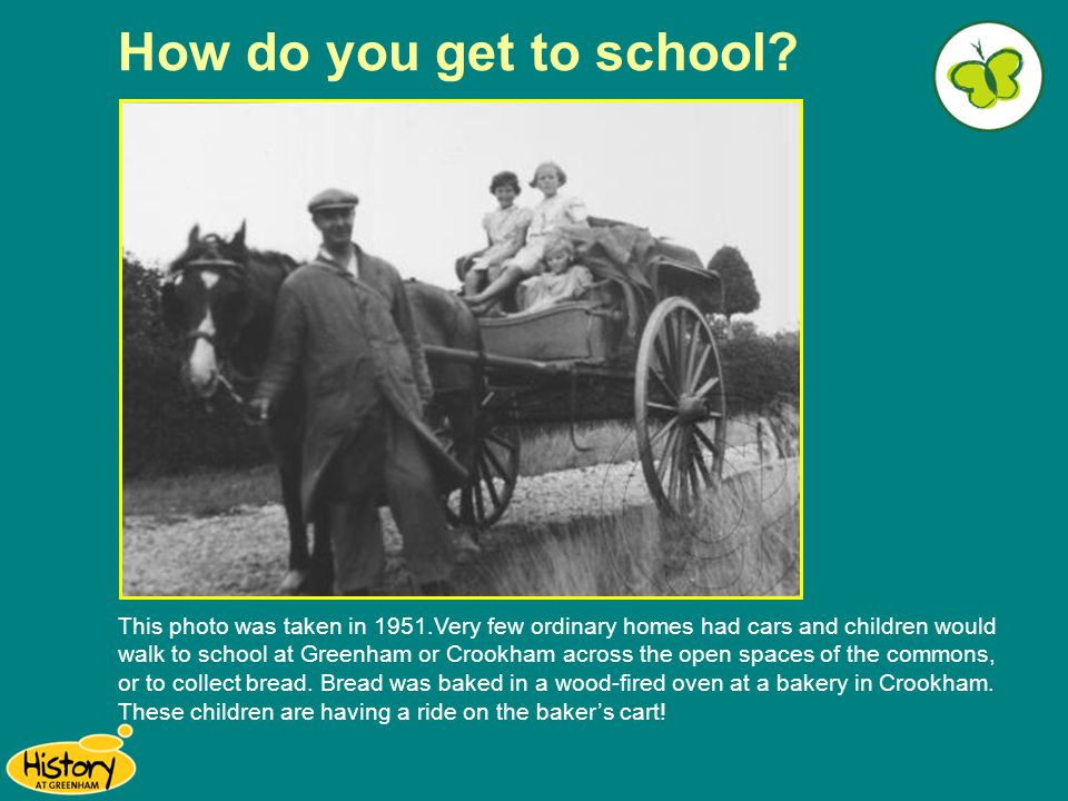 How do you get to school? This photo was taken in 1951.Very few ordinary homes had cars and children would walk to school at Greenham or Crookham acro