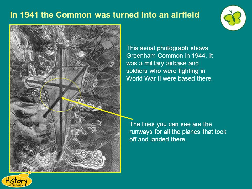 This aerial photograph shows Greenham Common in 1944. It was a military airbase and soldiers who were fighting in World War II were based there. The l