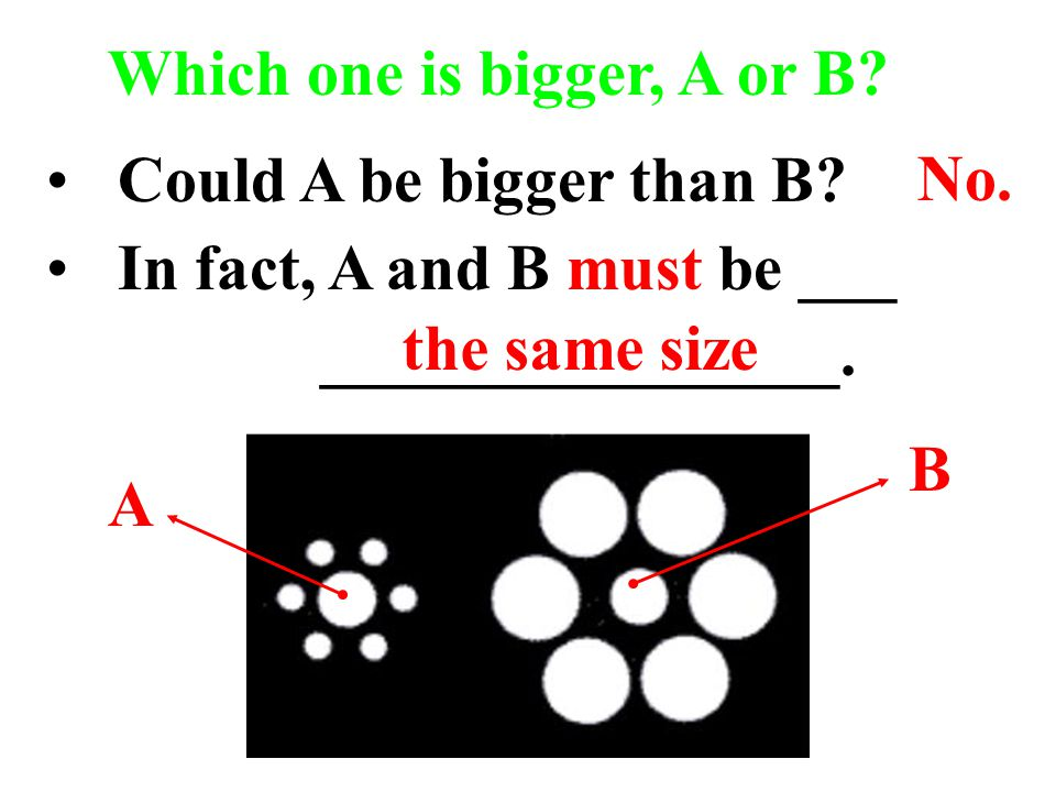 Could A be bigger than B.In fact, A and B must be ___ ________________.