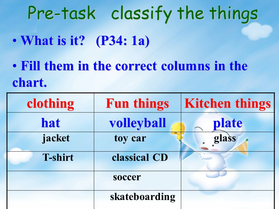 Pre-task classify the things What is it.(P34: 1a) What is it.
