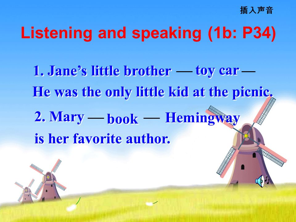 Listening and speaking (1b: P34) 插入声音 is her favorite author.
