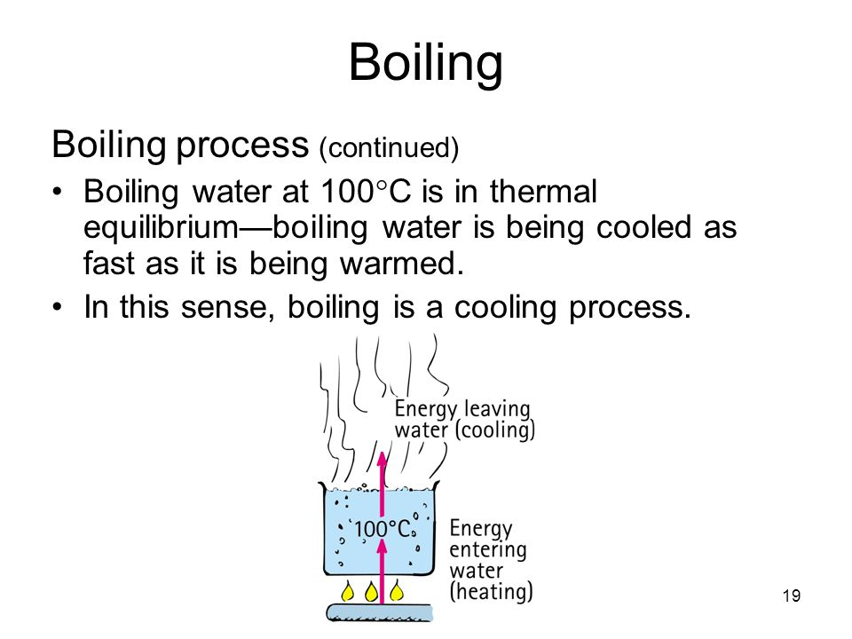 19 Boiling Boiling process (continued) Boiling water at 100  C is in thermal equilibrium—boiling water is being cooled as fast as it is being warmed.