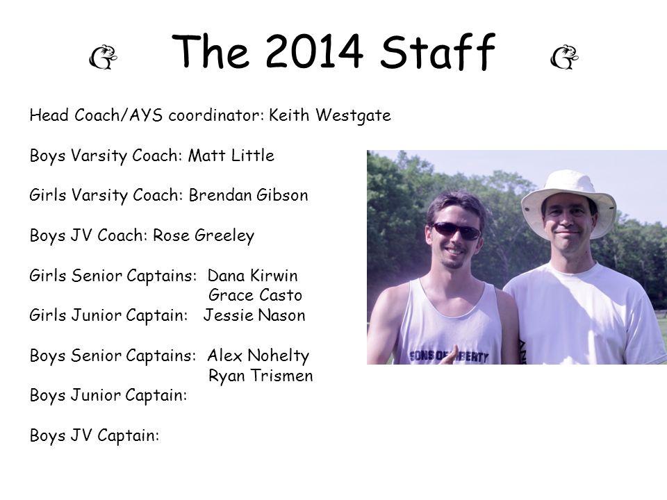 The 2014 Staff Head Coach/AYS coordinator: Keith Westgate Boys Varsity Coach: Matt Little Girls Varsity Coach: Brendan Gibson Boys JV Coach: Rose Gree