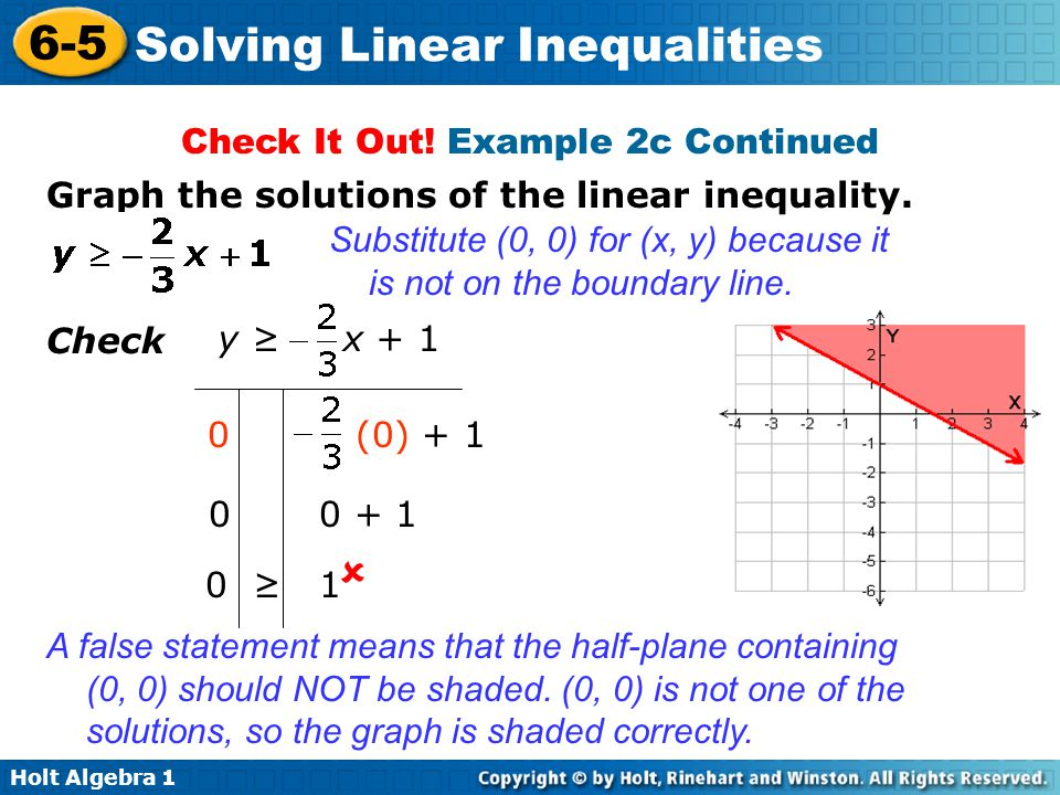 Holt Algebra 1 6-5 Solving Linear Inequalities Check It Out! Example 2c Continued Check y ≥ x + 1 0 (0) + 1 0 0 + 1 0 ≥ 1  A false statement means th