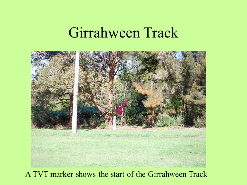 Girrahween Track A TVT marker shows the start of the Girrahween Track