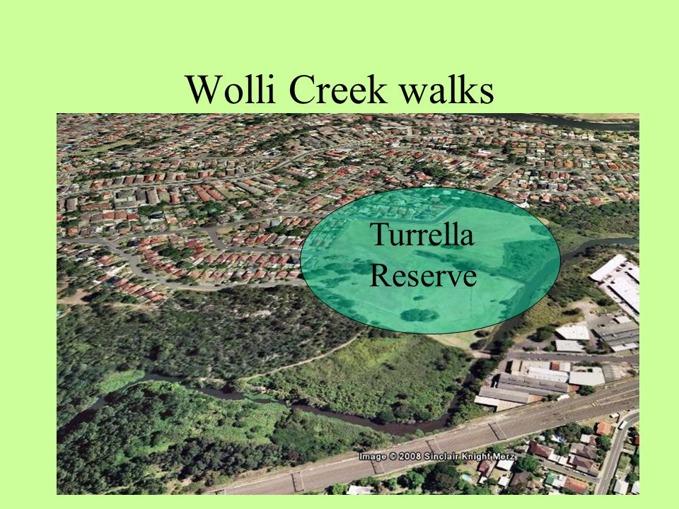 Wolli Creek walks Refer to this section of your A3 printable map Turrella Reserve is the starting point for both Wolli walks Turrella Reserve