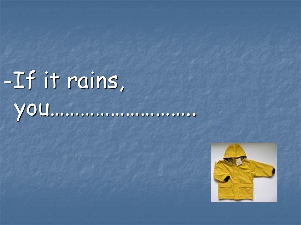 -If it rains, you………………………..
