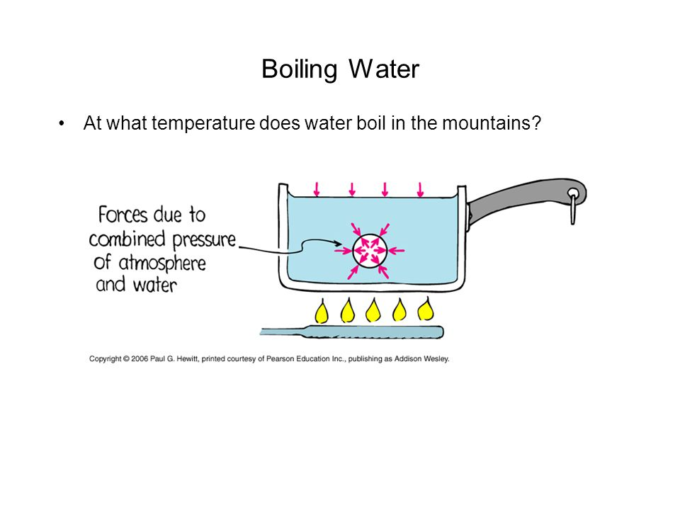 Boiling Water At what temperature does water boil in the mountains?