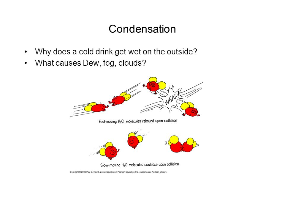 Condensation Why does a cold drink get wet on the outside? What causes Dew, fog, clouds?