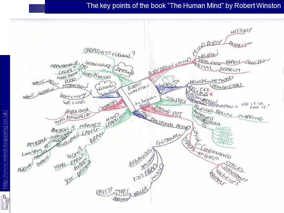 10 http://www.mind-mapping.co.uk/ The key points of the book The Human Mind by Robert Winston