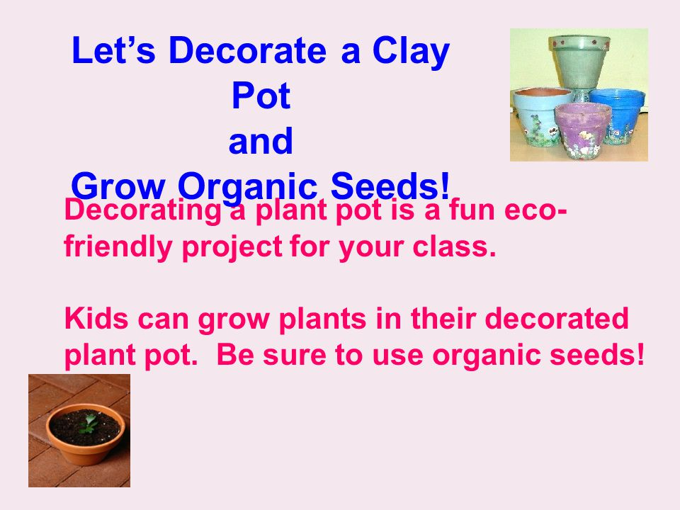 Decorating a plant pot is a fun eco- friendly project for your class.