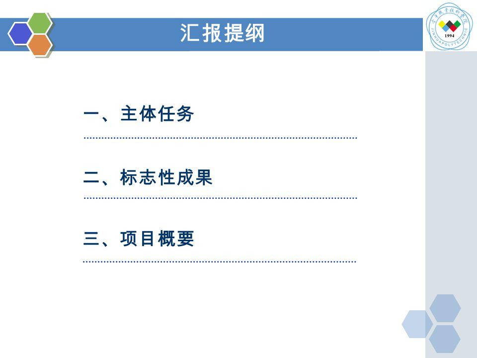 二、标志性成果 一、主体任务 三、项目概要 汇报提纲